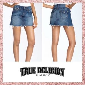 True Religion Sadie Frayed Denim Mini Skirt 27 4
